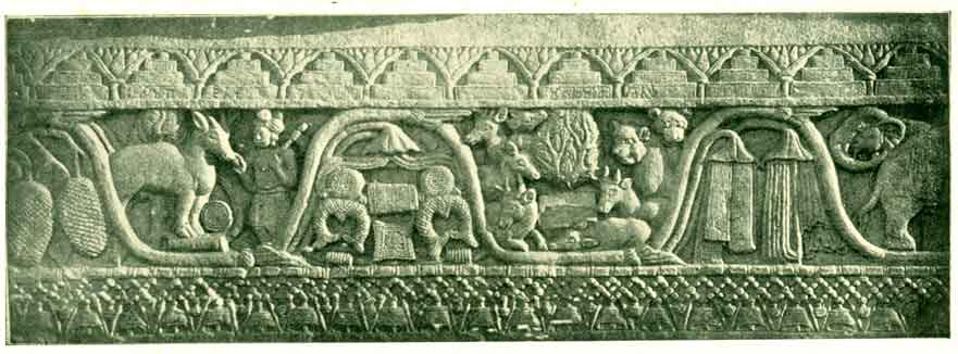 Fig. 11. — The Split Rock. Gambling Scene From The Bharahat Tope.