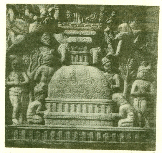 Fig. 15 A stupa as carved on the bas-reliefs.  [From Cunningham's Stupa of Bharhut. Pl. xxxi.]