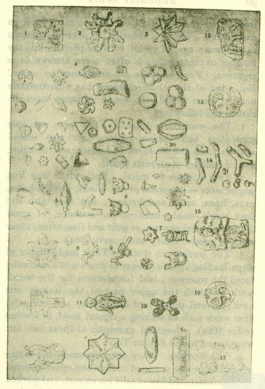 Fig. 17 Specimens of ancient jewelry found in the Sakiya tope. [From J.R.A.S., 1898.]